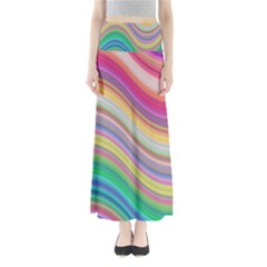 Wave Background Happy Design Full Length Maxi Skirt