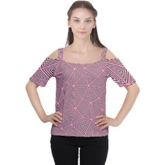 Triangle Background Abstract Cutout Shoulder Tee