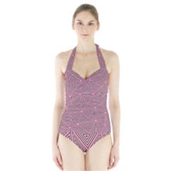 Triangle Background Abstract Halter Swimsuit