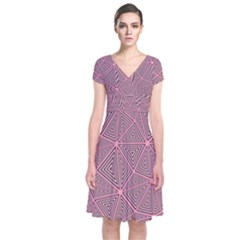 Triangle Background Abstract Short Sleeve Front Wrap Dress