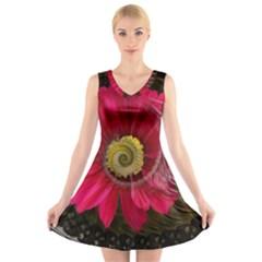 Fantasy Flower Fractal Blossom V Neck Sleeveless Skater Dress