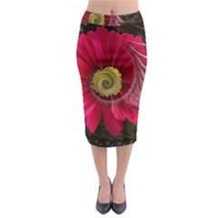 Fantasy Flower Fractal Blossom Midi Pencil Skirt