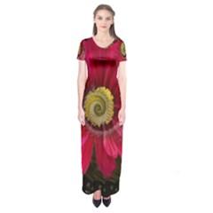 Fantasy Flower Fractal Blossom Short Sleeve Maxi Dress