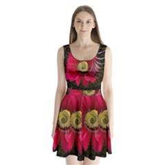 Fantasy Flower Fractal Blossom Split Back Mini Dress
