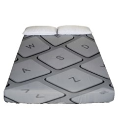 Keyboard Letters Key Print White Fitted Sheet (california King Size)