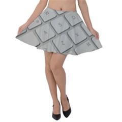 Keyboard Letters Key Print White Velvet Skater Skirt