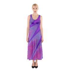 Purple Star Sun Sunshine Fractal Sleeveless Maxi Dress
