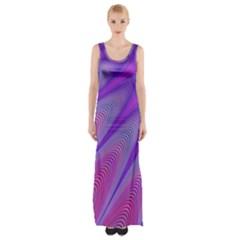 Purple Star Sun Sunshine Fractal Maxi Thigh Split Dress