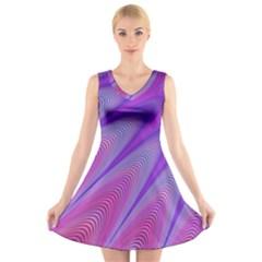 Purple Star Sun Sunshine Fractal V Neck Sleeveless Skater Dress