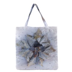 Winter Frost Ice Sheet Leaves Grocery Tote Bag