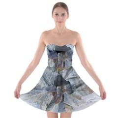 Winter Frost Ice Sheet Leaves Strapless Bra Top Dress