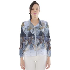 Winter Frost Ice Sheet Leaves Wind Breaker (women)