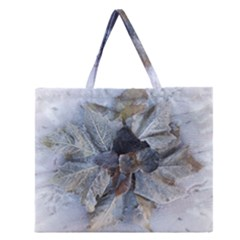 Winter Frost Ice Sheet Leaves Zipper Large Tote Bag