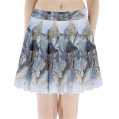 Winter Frost Ice Sheet Leaves Pleated Mini Skirt