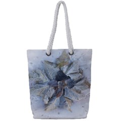 Winter Frost Ice Sheet Leaves Full Print Rope Handle Tote (small)