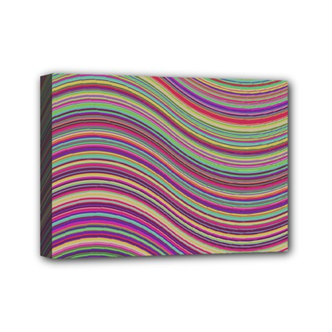 Wave Abstract Happy Background Mini Canvas 7  X 5