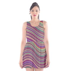 Wave Abstract Happy Background Scoop Neck Skater Dress