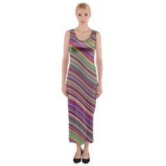 Wave Abstract Happy Background Fitted Maxi Dress