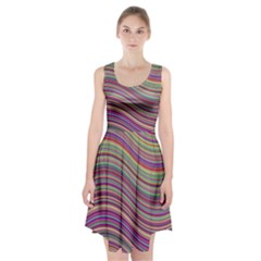 Wave Abstract Happy Background Racerback Midi Dress