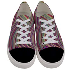 Wave Abstract Happy Background Women s Low Top Canvas Sneakers