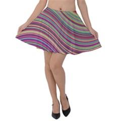 Wave Abstract Happy Background Velvet Skater Skirt