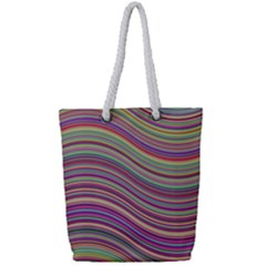 Wave Abstract Happy Background Full Print Rope Handle Tote (small)