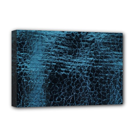 Blue Black Shiny Fabric Pattern Deluxe Canvas 18  X 12