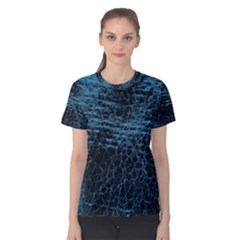 Blue Black Shiny Fabric Pattern Women s Cotton Tee
