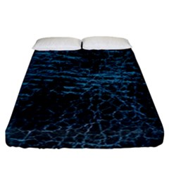 Blue Black Shiny Fabric Pattern Fitted Sheet (california King Size)
