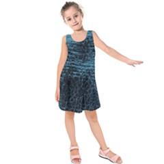 Blue Black Shiny Fabric Pattern Kids  Sleeveless Dress