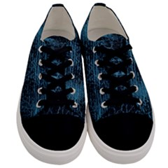 Blue Black Shiny Fabric Pattern Men s Low Top Canvas Sneakers