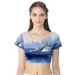 Whale Watercolor Sea Short Sleeve Crop Top