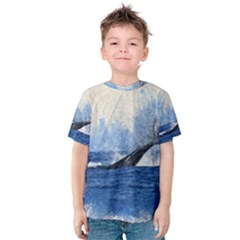 Whale Watercolor Sea Kids  Cotton Tee