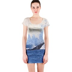 Whale Watercolor Sea Short Sleeve Bodycon Dress