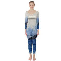 Whale Watercolor Sea Long Sleeve Catsuit