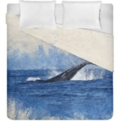 Whale Watercolor Sea Duvet Cover Double Side (king Size)