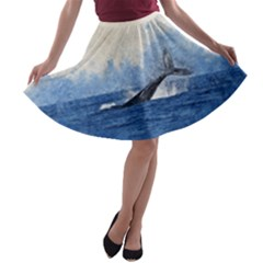Whale Watercolor Sea A Line Skater Skirt