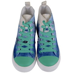 Whale Watercolor Sea Women s Mid Top Canvas Sneakers
