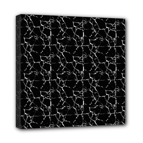 Black And White Textured Pattern Mini Canvas 8  X 8