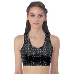 Black And White Textured Pattern Sports Bra