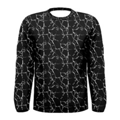 Black And White Textured Pattern Men s Long Sleeve Tee