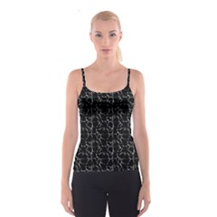 Black And White Textured Pattern Spaghetti Strap Top