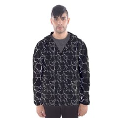 Black And White Textured Pattern Hooded Wind Breaker (men)