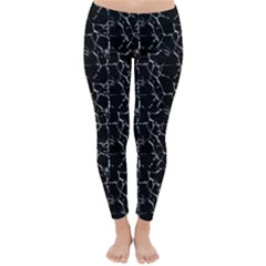 Black And White Textured Pattern Classic Winter Leggings
