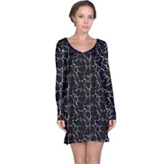 Black And White Textured Pattern Long Sleeve Nightdress
