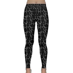 Black And White Textured Pattern Classic Yoga Leggings