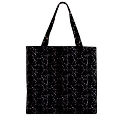 Black And White Textured Pattern Zipper Grocery Tote Bag