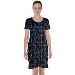 Black And White Textured Pattern Short Sleeve Nightdress