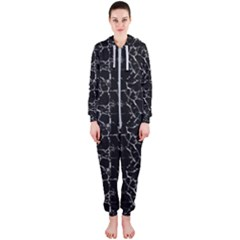 Black And White Textured Pattern Hooded Jumpsuit (ladies)