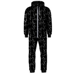 Black And White Textured Pattern Hooded Jumpsuit (men)